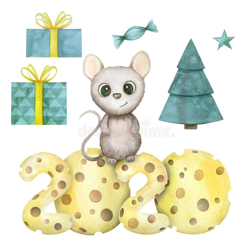 Cute watercolor rat isolated on white background. Mouse symbol 2020 new year vector illustration