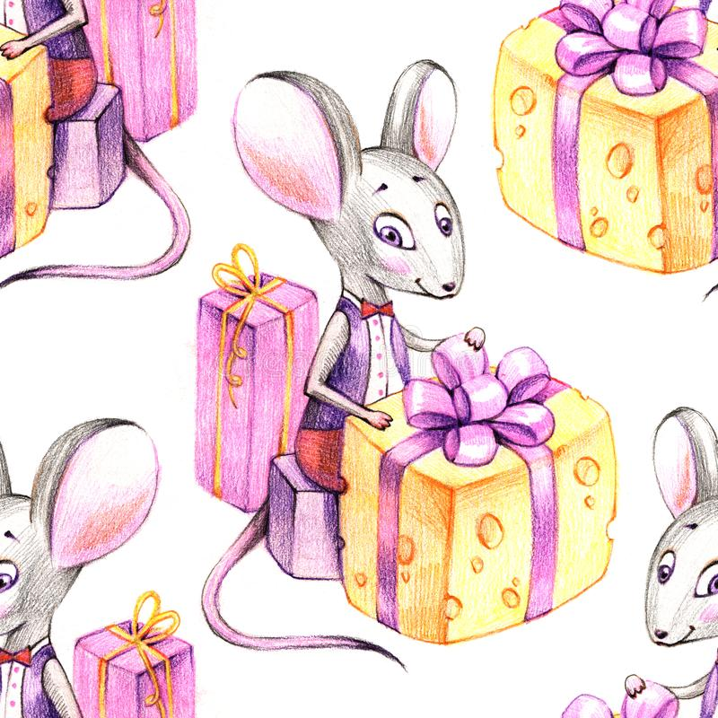 Cute watercolor rat seamless pattern. Mouse symbol 2020 new year.  stock photo