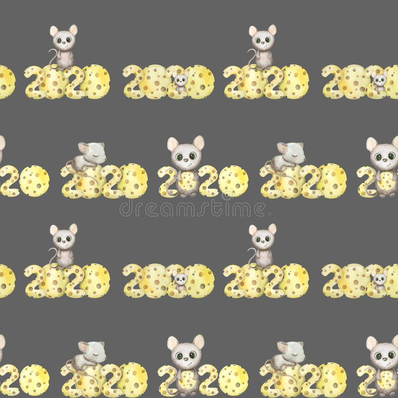 Cute watercolor rat seamless pattern. Mouse symbol 2020 new year. Cute hand drawn watercolor rat seamless pattern. Mouse symbol 2020 new year. With cheese stock illustration