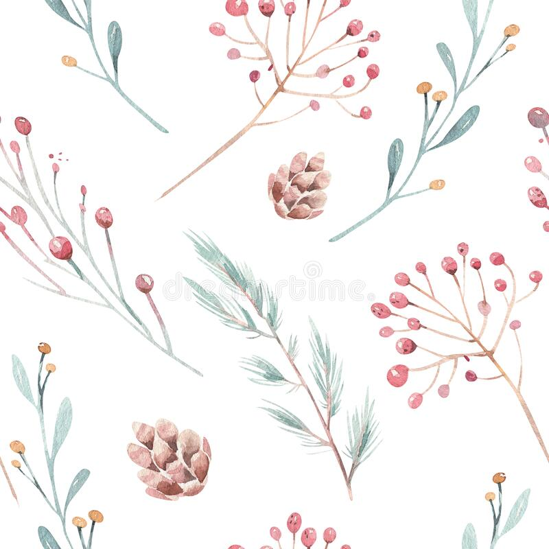 Free Cute Watercolor Seamless Flower Pattern. Big Set Of Watercolor Floral Elements. Can Be Used For Cards, Invitations, Save Stock Photography - 199382072