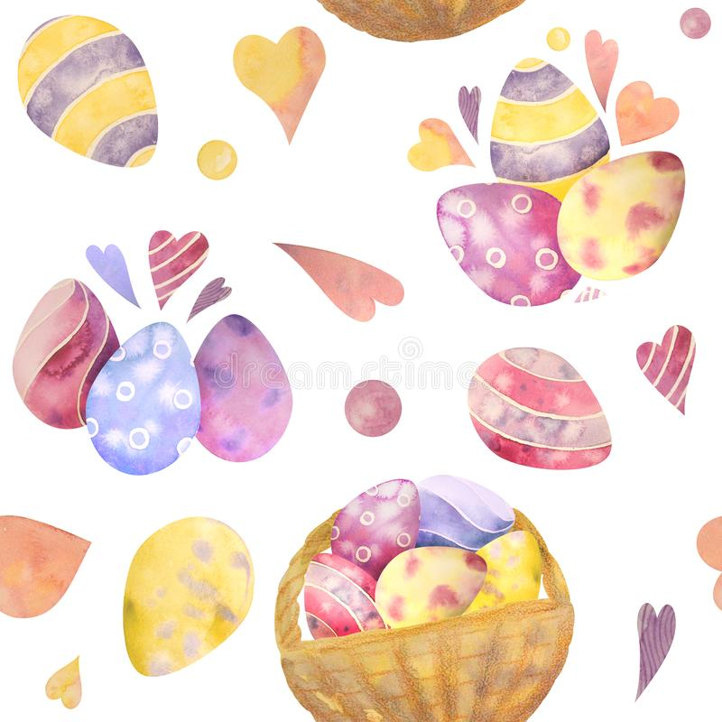 Cute watercolor seamless pattern with easter elements. It's perfect for wallpaper, fabric design, textile design. Cute watercolor seamless pattern with Easter royalty free illustration