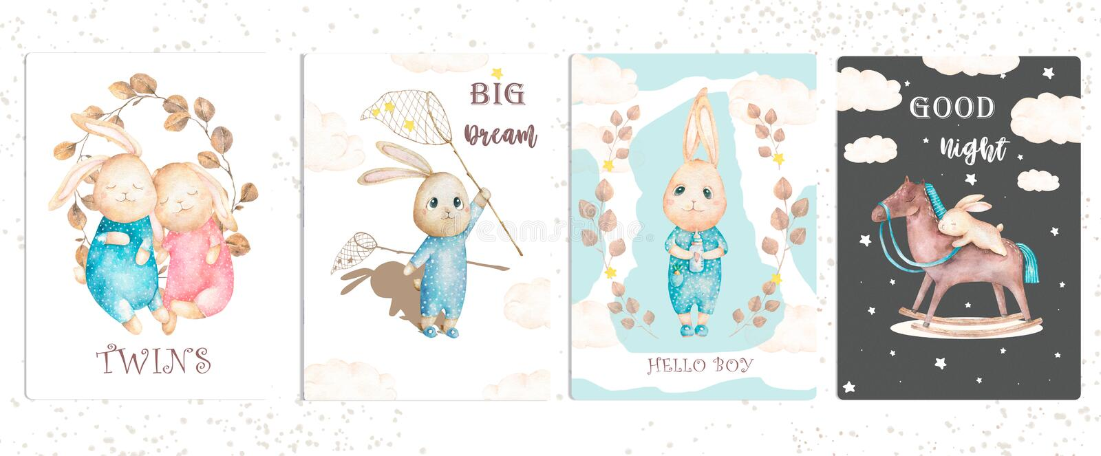 Cute watercolor set bunny birthday greeting cards,posters for baby room, baby shower, kids and baby t-shirts and wear. Hand drawn stock illustration