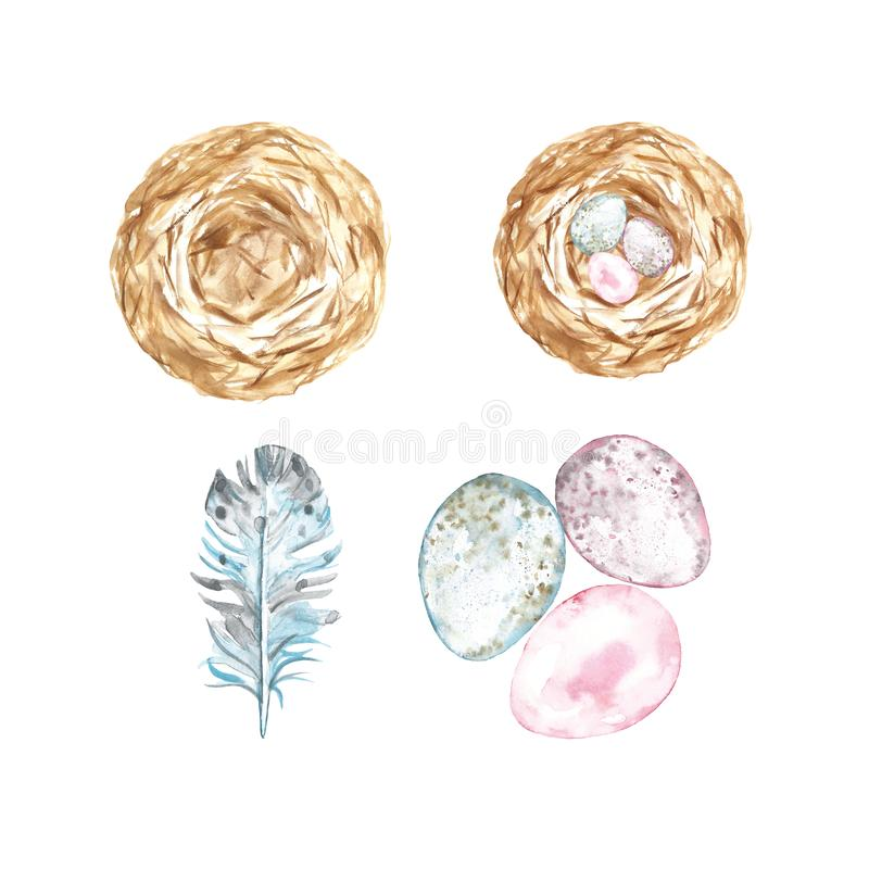 Cute Watercolor set for Easter in pastel colors - assorted eggs,bird nest and feather. Decorative elements symbols of spring royalty free illustration