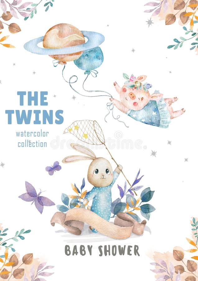 Cute watercolor Twins Bunny birthday greeting cards,posters for baby room, baby shower, invite, kids and baby t-shirts and wear. royalty free stock image