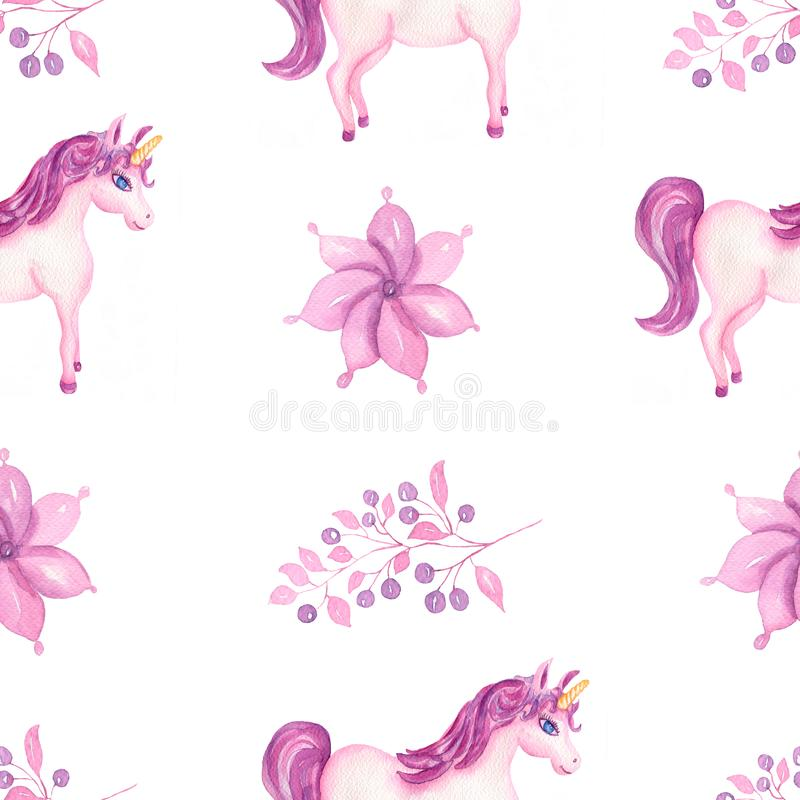 Cute watercolor unicorn seamless pattern with flowers and berries in pink and violet colors. Nursery magical unicorn patterns. royalty free illustration