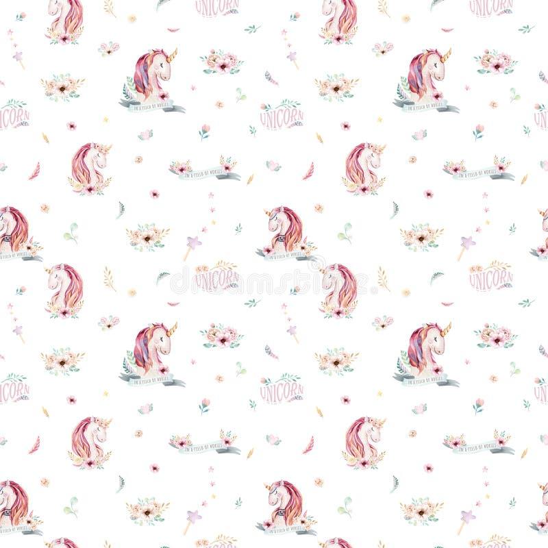Cute watercolor unicorn seamless pattern with flowers. Nursery magic unicorn patterns. Princess rainbow texture. Trendy stock illustration