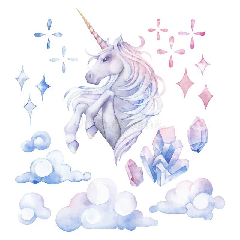 Cute watercolor unicorn stock illustration