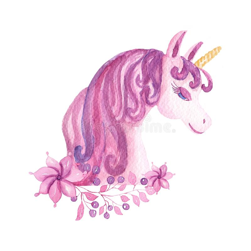 Cute watercolor unicorns clipart with flowers. Nursery unicorn illustration. Princess rainbow poster. Trendy pink and violet stock illustration