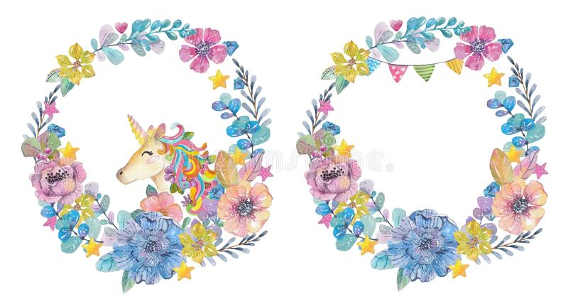 Cute watercolor wreaths with magic unicorn and flowers royalty free illustration