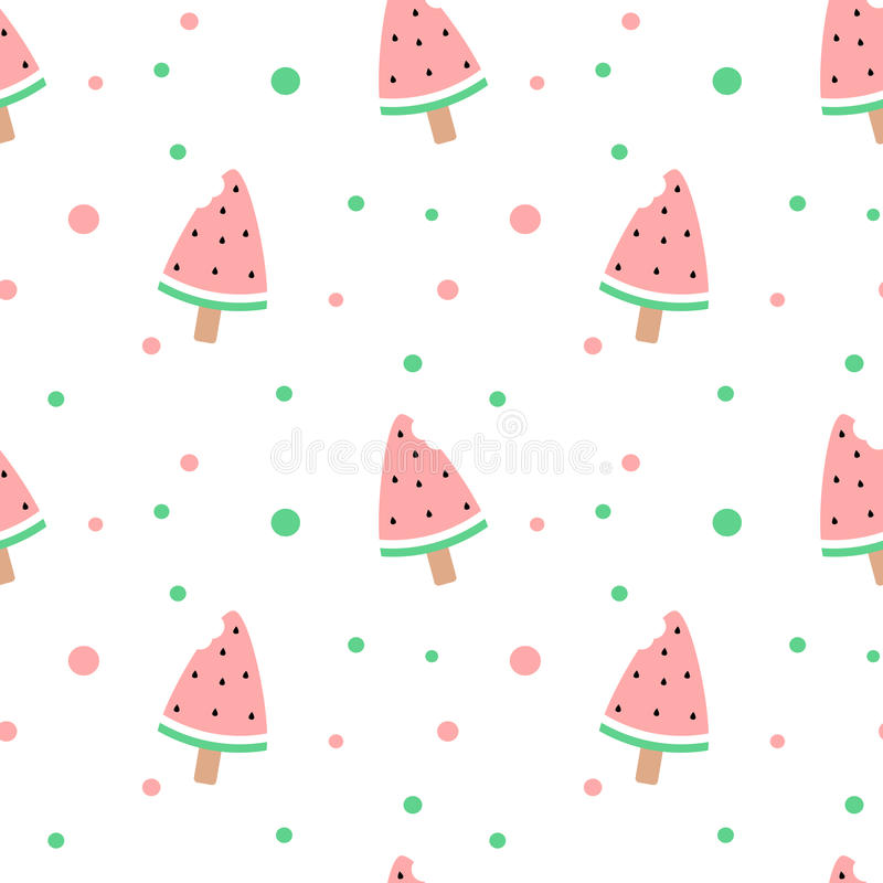 Pattern Cute Colorful Ice Cream Textiles Stock Vector: Cute Watermelon Bitten Ice Cream Seamless Pattern