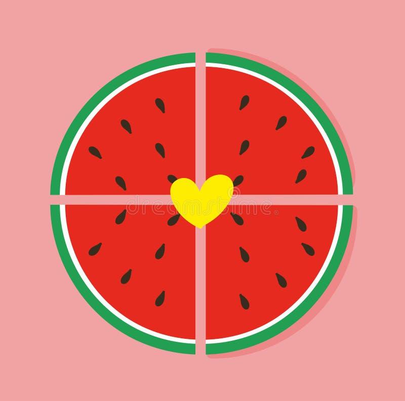 Cute watermelon slice stock illustration