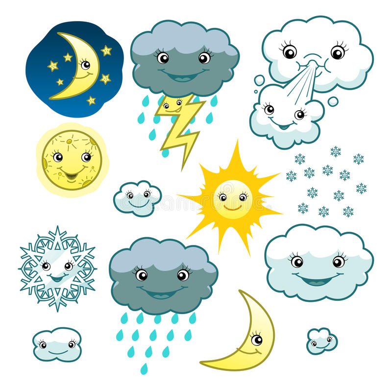 Cute weather collection vector illustration