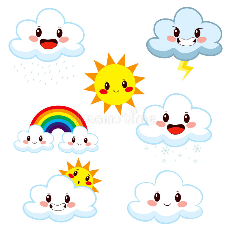 Cute Weather Elements Collection royalty free illustration