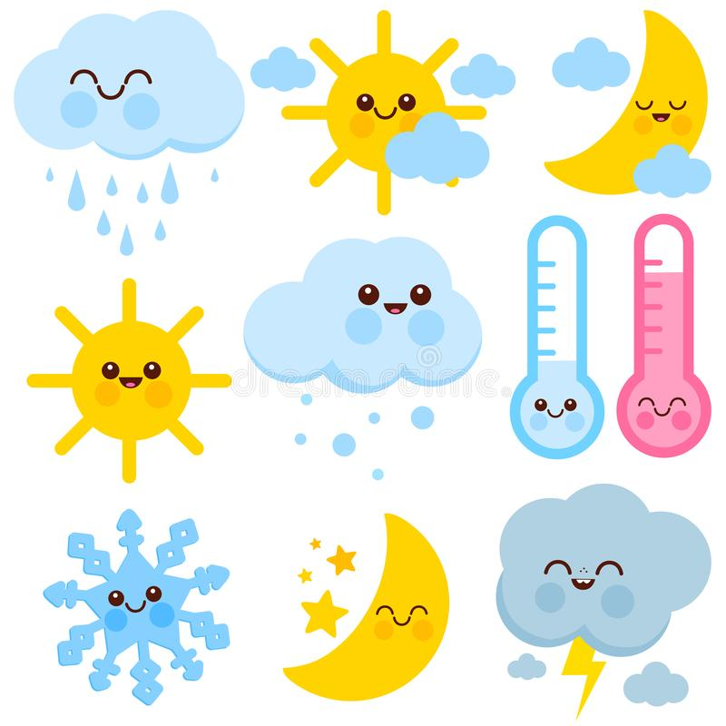 Cute weather icons vector set royalty free illustration