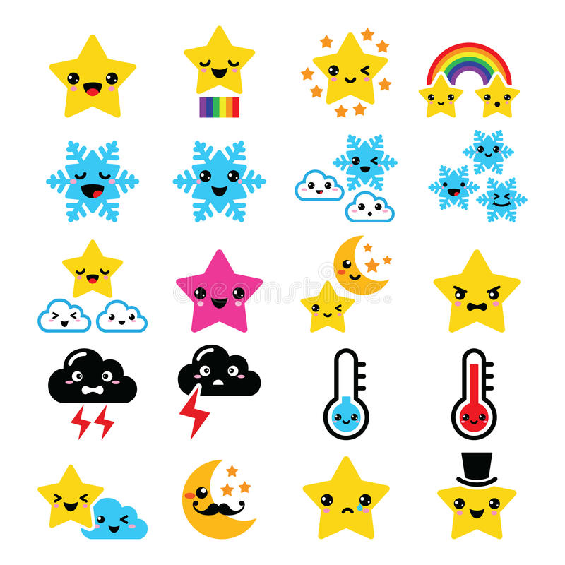 Cute weather kawaii icons -star, rainbow, moon, snowflake, thunders and cloud vector illustration
