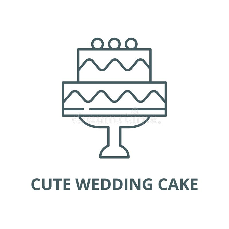 Cute wedding cake vector line icon, linear concept, outline sign, symbol vector illustration