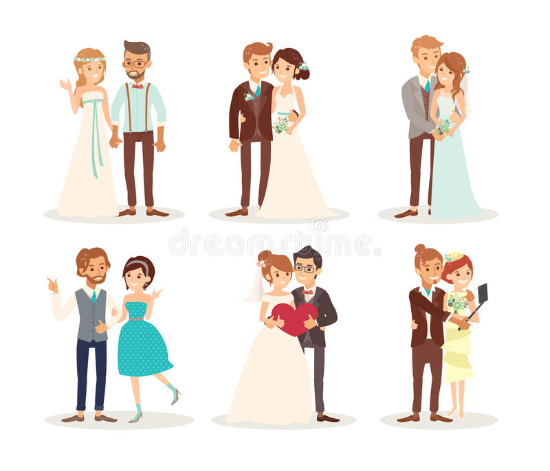 Cute Wedding Couple Bride And Groom Cartoon Stock Vector ...