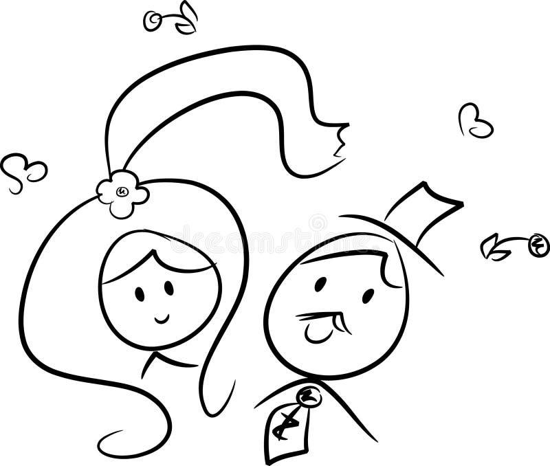 Cute wedding couple (IV) royalty free illustration