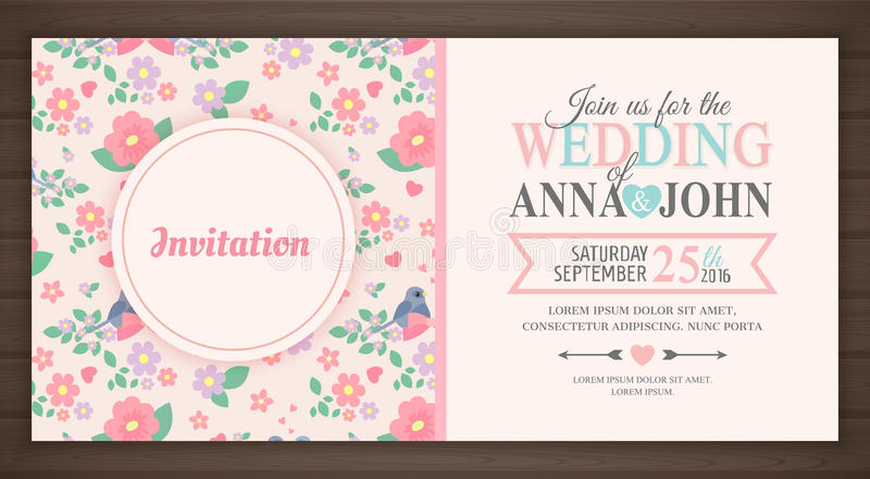 Cute wedding invitation card. Back and front, vector illustration royalty free illustration