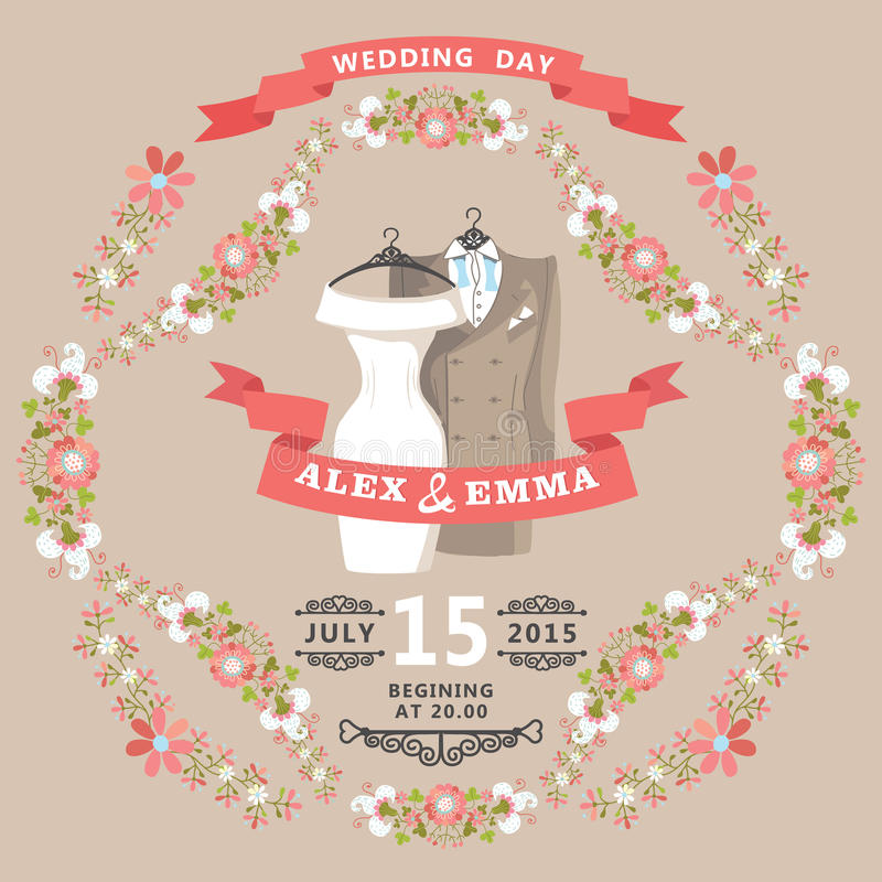 Cute Wedding Invitation With Wedding Wear And Floral Frame Stock ...