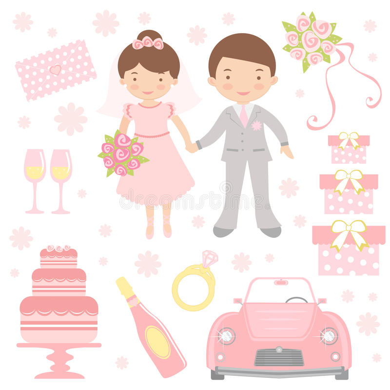 Free Cute Wedding Set Royalty Free Stock Images - 26697609