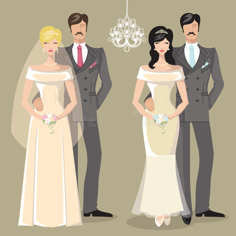 Cute wedding set of cartoon couple bride and groom vector illustration