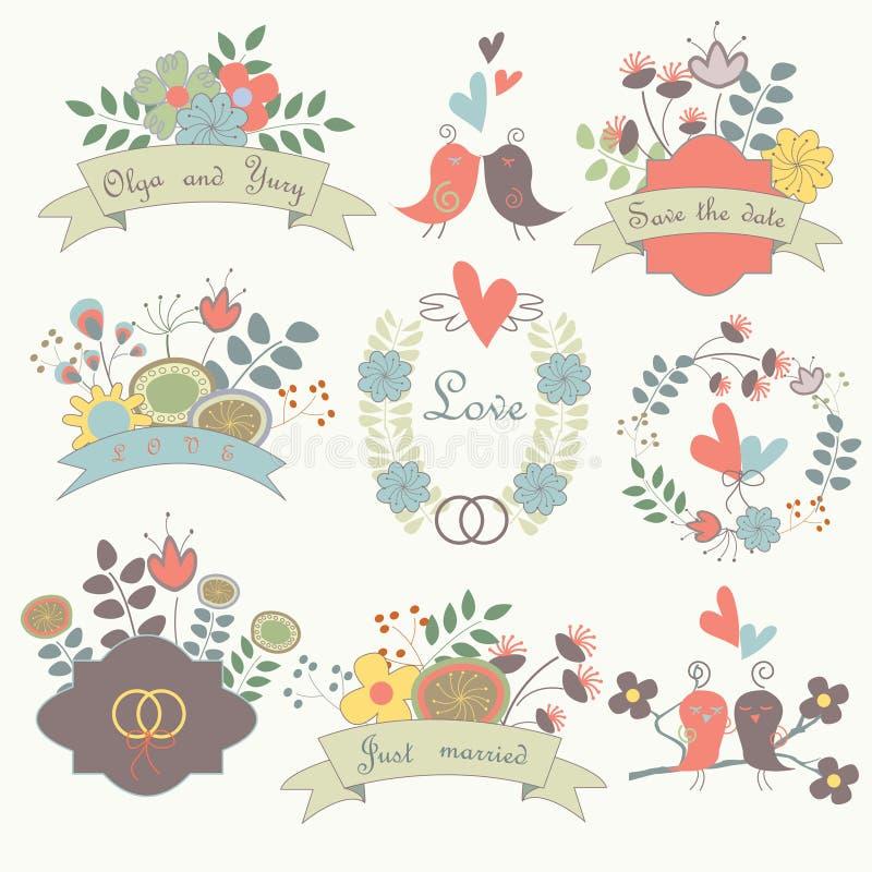 Cute wedding set stock vector. Illustration of floral - 35634667