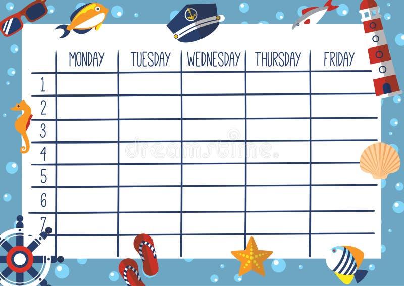 Cute Calendar Illustration : Cute weekly planner marine theme stock vector