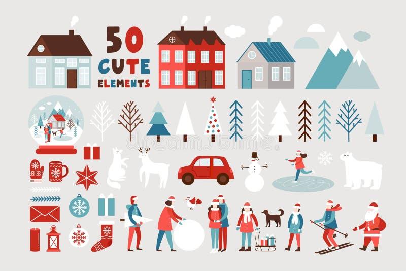 Cute Weihnachten und Neues Jahr nahtlose Muster lizenzfreie stockbilder