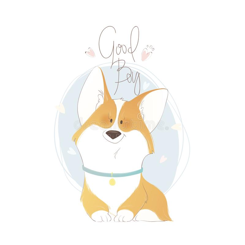 Cute welsh corgi with lettering good boy. Funny vector illustration. Portrait of a dog for decoration and design. royalty free illustration