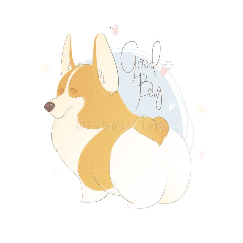 Cute welsh corgi with lettering good boy. Funny vector illustration. Portrait of a dog for decoration and design. stock illustration