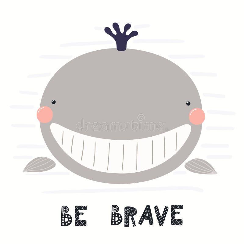 Cute whale illustration stock illustration