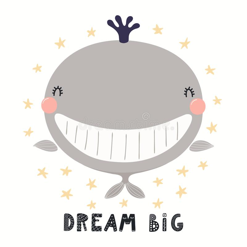 Cute whale illustration royalty free illustration