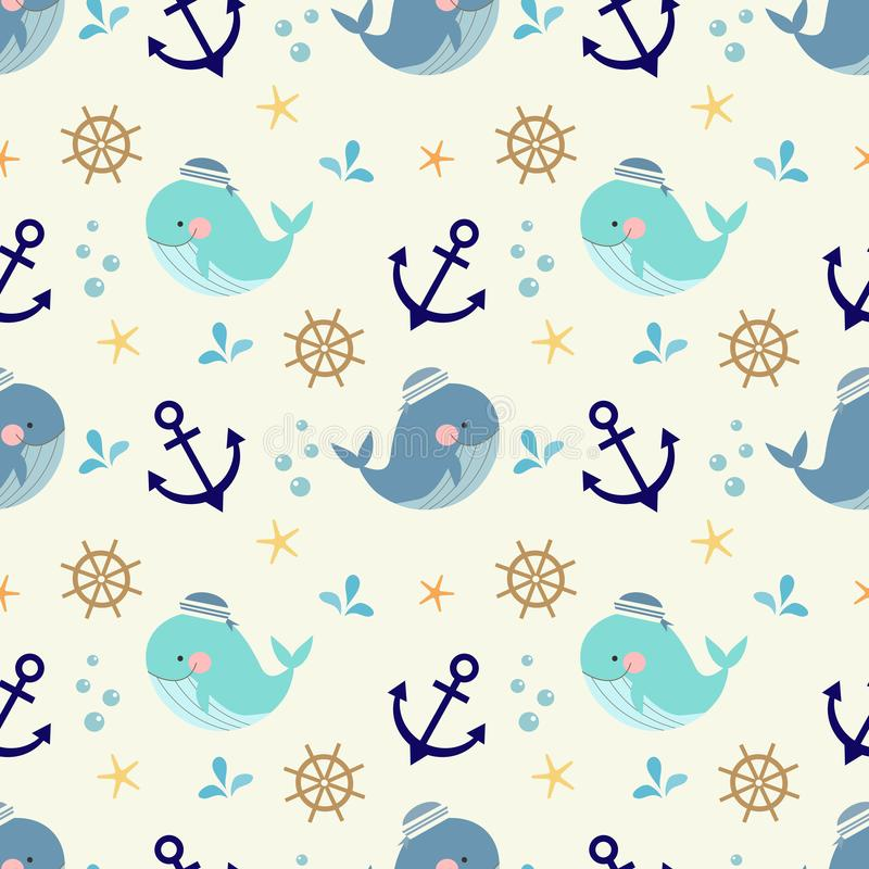 Cute whale, nautical and marine symbols seamless pattern. Lovely animal royalty free illustration