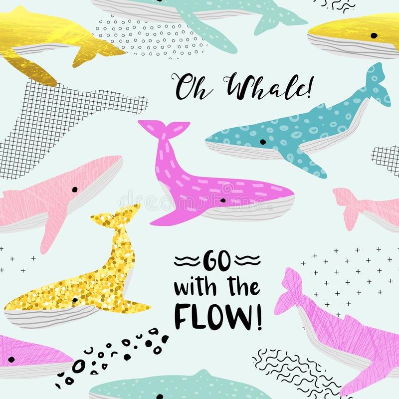 Cute Whales Seamless Pattern. Childish Marine Background with Abstract Elements. Baby Freehand Doodle for Fabric Textile stock illustration