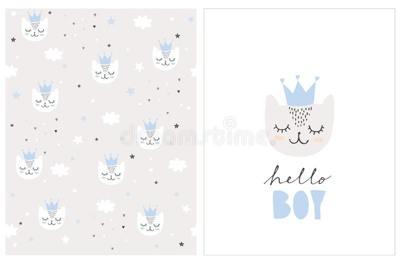 Lovely Hello Boy Vector Card and Pattern. Simple Baby Shower Illustrations. royalty free illustration