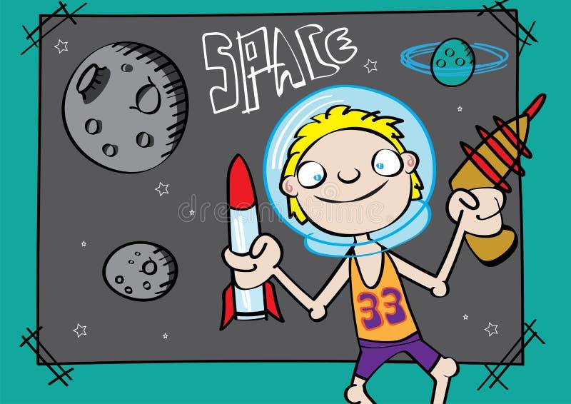 Cute white boy playing astronaut funny cartoon vector illustration