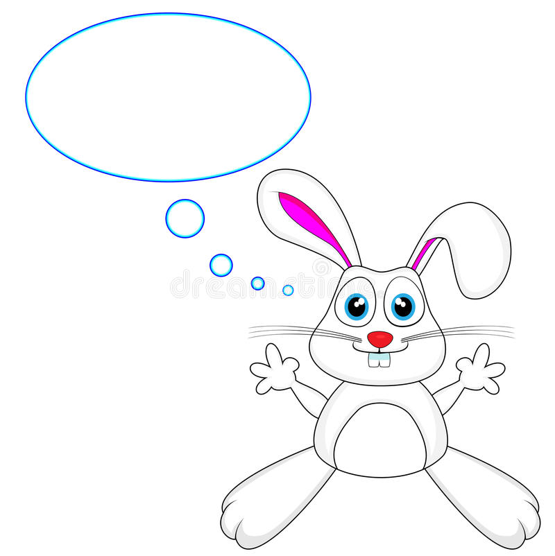 Download Cute White Bunny Rabbit With Thought Bubble Stock Illustration - Image: 18065988