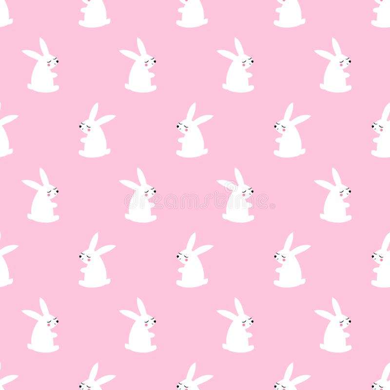 Cute white bunny seamless pattern on pink background. Baby animal vector illustration. Vector child drawing style design for textile, wallpaper, fabric royalty free illustration