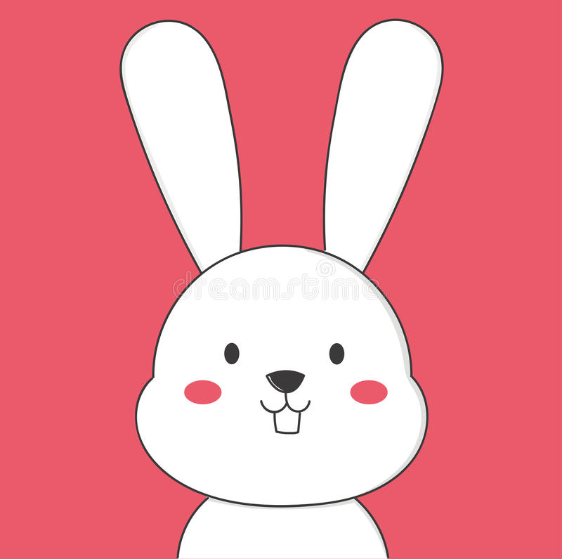 Cute white bunny. Smile to you in pink wallpaper stock illustration