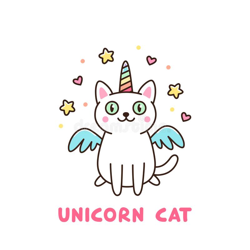 Cute white cat in a unicorn costume with wings and rainbow horn. stock illustration
