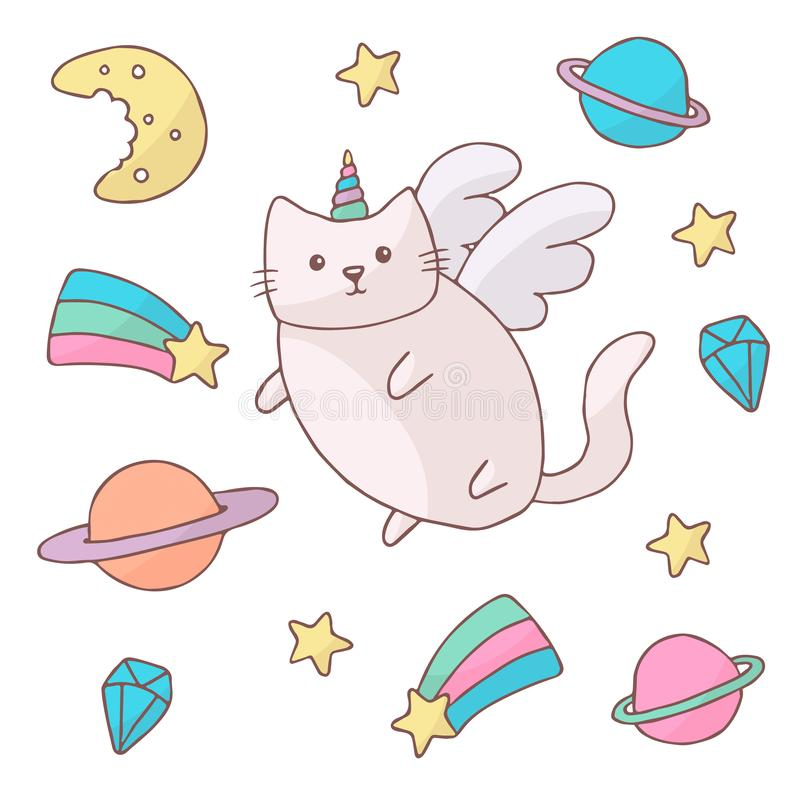 Cute white cat in a unicorn costume with wings and rainbow horn. It can be used for sticker, patch, phone case, poster stock illustration