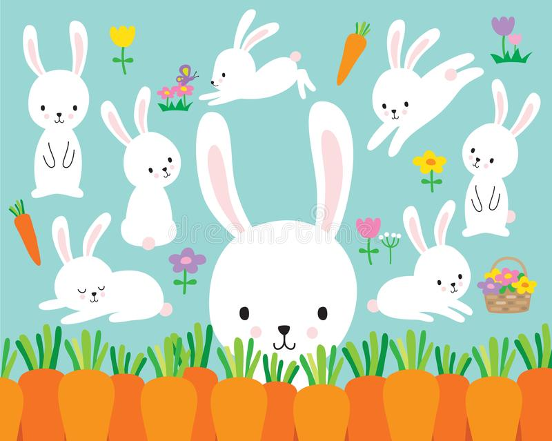 Cute White Easter Bunny Rabbit Vector Illustration stock illustration