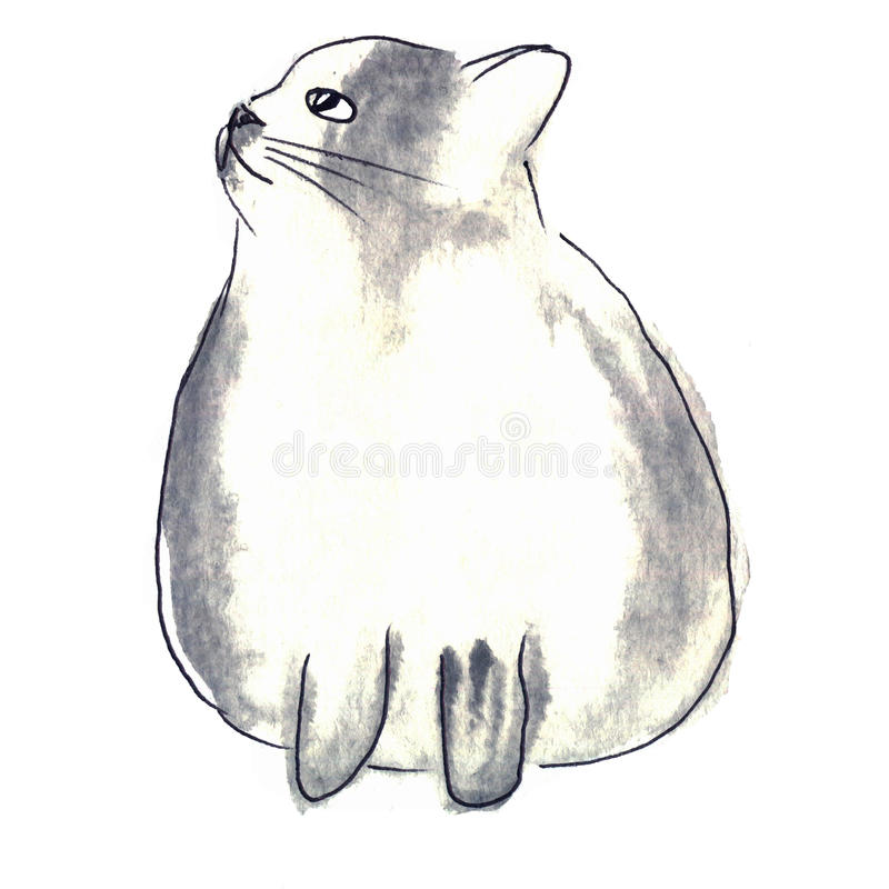Cute white-gray cat. Watercolor kids illustration with domestic vector illustration