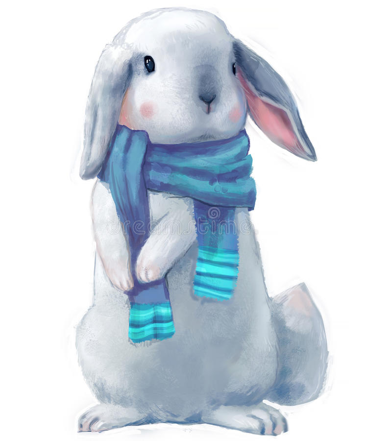 Cute white hare. With scarf vector illustration