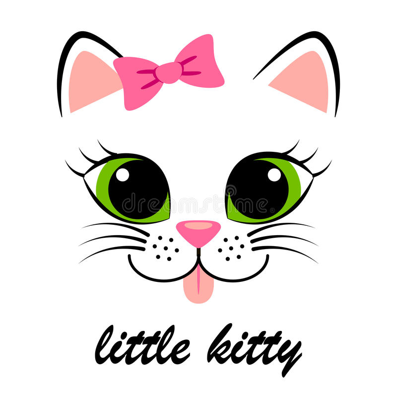 Cute white kitten with pink bow. Girlish print with kitty for t-shirt. Vector illustration stock illustration