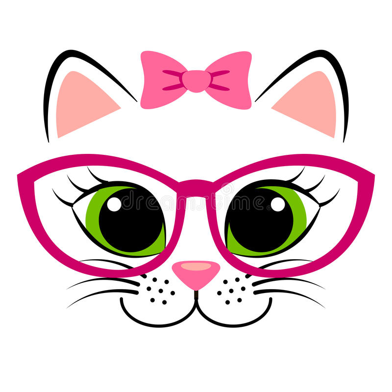 Cute white kitten with pink bow and glasses. Girlish print with kitty for t-shirt. Vector illustration vector illustration