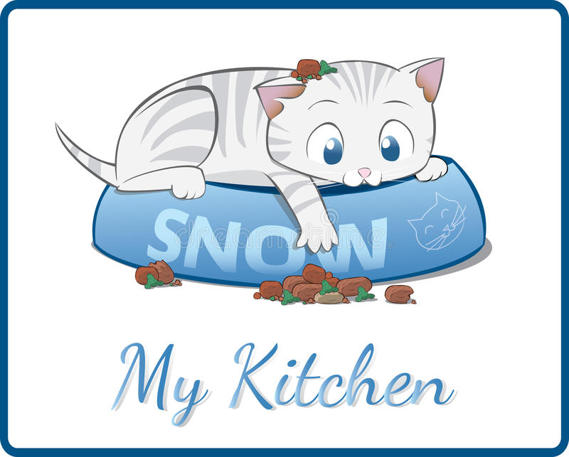Cute white kitten playing in his food bowl royalty free stock photo