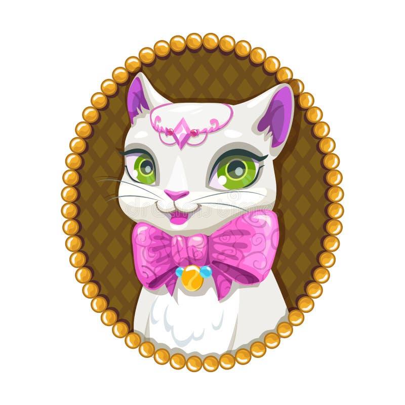 Cute white kitty princess portrait. Beautiful kitty character. Vector little pet illustration stock illustration