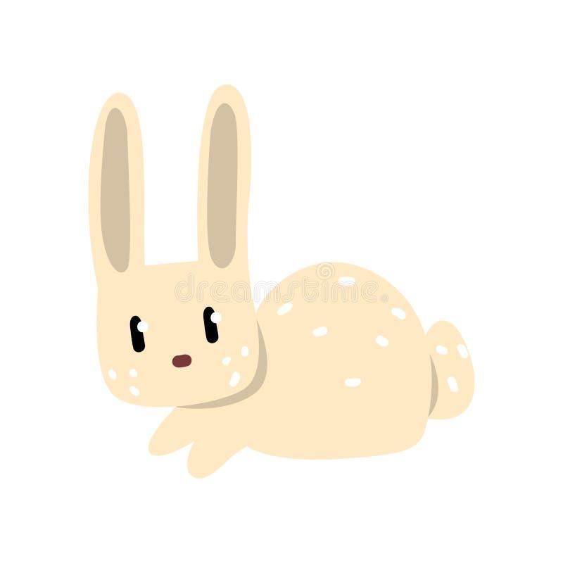 Cute white little rabbit cartoon character vector Illustration on a white background stock illustration
